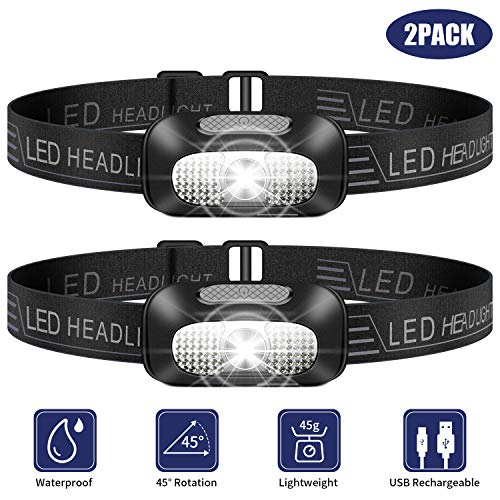 Linterna Frontal LED, 2 Piezas USB Rechargeable Linterna Cabeza, Ligero Impermeable Linternas Frontales para Camping, Pesca, Correr, Caza, Deportes Nocturnos