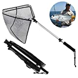 Goture Folding Fishing Landing Net Ultra-Strong Lightweight Rubber Mesh Trout Net with Non-Slip EVA Handle Catching and Releasing Fishing Net for Saltwater Freshwater