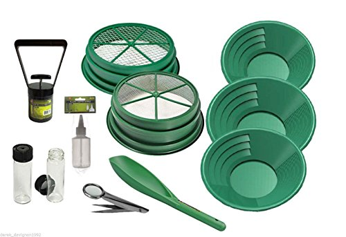 """11pc Gold Panning Kit 1/4 & 1/8 Classifiers 14"""" 10"""" 8"""" Green Gold Pans,Sniffer Bottle, 2 Vials, Scoop, Tweezers with Magnifier & Black Sand Magnet Plus Free Digiweigh Pocket Scale 1000g x .1g"""