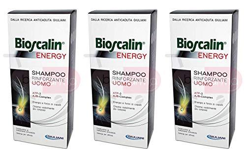 3 x Bioscalin Energy - kräftigendes Shampoo mit ATP und AJB, 200 ml, für Herren