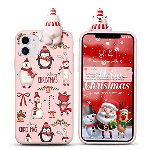 Yoedge Funda para Huawei P8 Lite 2017 / P9 Lite 2017 5,2', Navidad Carcasa Silicona Rojo con Dibujos Animados 3D Doll Ciervo Toy, Suave Fina Antigolpes TPU Protector Case Cover, Oso 3
