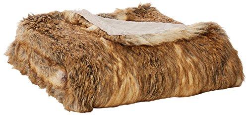 "Best Home Fashion Faux Fur Throw - Lounge Blanket - Amber Fox - 58""W x 60"