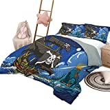 DayDayFun 3-Piece Quilt Set Pirate Pattern Bed Cover Caribbean Waters Adventure Time Volcano with Sea Storm Skull Island Jolly Roger Full Size Multicolor
