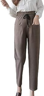 iLOOSKR Autumn Winter Comfy Women High Waist Large Size Trouser Casual Harem Woolen Pants