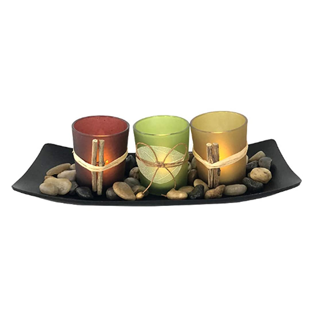 YMOON Tea Light Candles Holder – 1 Set Candlescape with 3 Colored Glass Candle Holders, 1 Pack Rocks and 1 Black Tray