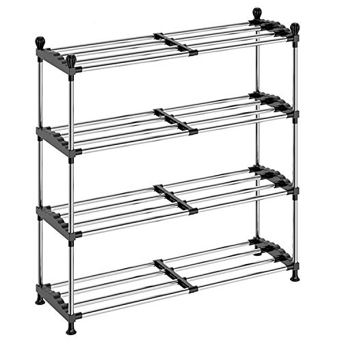 Shoe Rack Organizer for Closet Entryway,DUSASA 4-Tier Expandable Free Standing Shoe Rack Metal Iron of Adjustable Shoes Organizer, Stackable Shoe Shelf for Entryway Doorway