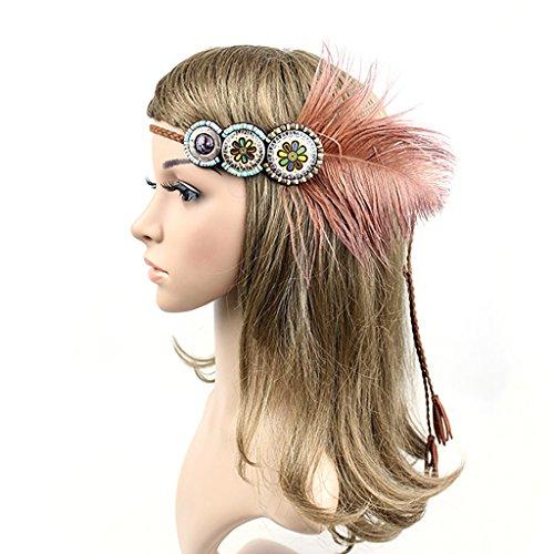 Hellery Bandeau De Plumes Vintage Bandeau Headpieces Tissage Hippie Style Tribal