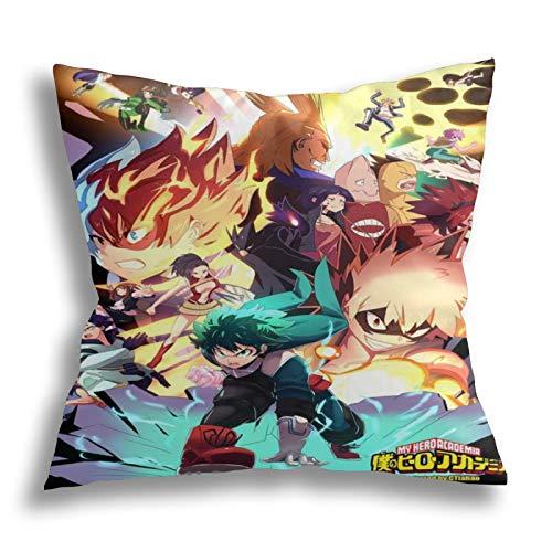 SHENGANG Meine H-ero Ac-ade-mia - Funda de cojín para periféricos de anime, almohada para el sofá o la sala de estar, diseño de anime, 18 x 18 pulgadas