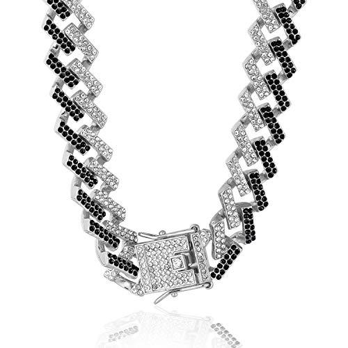 Halukakah Diamante Cubano Cadena de Oro para Hombre Iced out,15MM Fuji Platino Acabado en Oro Blanco Gargantilla Collar 60cm,Diamantes Blancos Negro Multicolores Juego de Puntas,Regalo para El