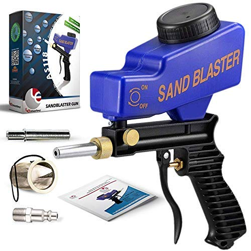 """Sand Blaster, Sand Blaster Gun Kit, Sandblaster with 2 Replaceable Tips ¼"""" Quick Connect, Filter, Media Guide. Works with All Blasting Abrasives – Professional Series (AS118-Blue)"""