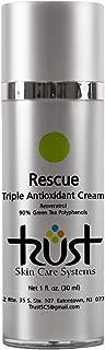 Rescue Triple Antioxidant Cream, 1 oz. (contains Green Tea Polyphenols, Resveratrol, Caffeine) Light Weight Hydrating Moisturizer