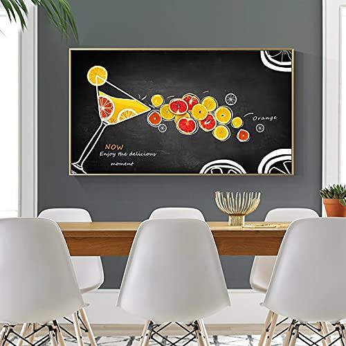 Carteles e impresiones artísticos de cocina de copa de fruta creativa moderna Cuadros arte de pared para la decoración del hogar de la sala de estar 40x70 CM (sin marco)