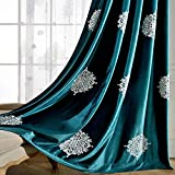 VOGOL Eurapean Floral Embroidered Elegant Curtains for Living Room, Modern Contemporary Grommet Window Panels for Bedroom, 52W x 63L, 2 Panels