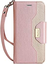 ProCase iPhone SE 2020 iPhone 8 iPhone 7 Wallet Case for Women, Stylish Folio Flip Card Case Stand Cover with Hand Strap Kickstand and Card Holder -Pink