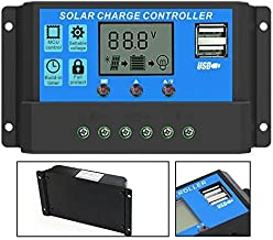 PowMr 40A Solar Charge Controller - Solar Panel Charge Controller 12V 24V Dual USB Adjustable Parameter LCD Display and Timer Setting ON/Off Hours(40A)