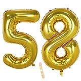 2 globos numeros 58 años, Number globo número 58 Dorado para Hombres Mujeres niños,40' Figuras Gold globo de lámina de helio inflable, gigante grande decoración fiesta de cumpleaños boda (xxxl 100cm)