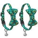 IYSHOUGONG 2 Stück St. Patrick's Day Katzenhalsbänder mit Fliege und Glöckchen, Sicherheits-Halsband für Katzen und kleine Hunde