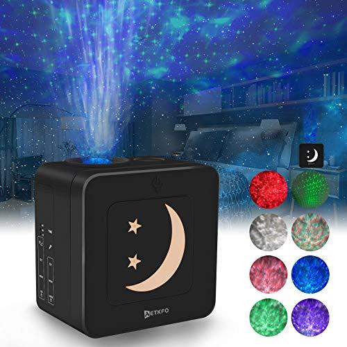 AETKFO Sternenhimmel Projektor LED Projektionslampe mit Sound Aktiviert/Musikalischer Rhythmus/Einstellbarer Winkel für Kinder, Zimmer, Feiertage, Geburtstagsfeiern, schwarz[Energieklasse A+]