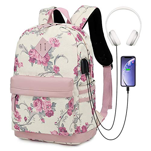 Floral Laptop Backpack + Student College Schoolbag with USB Charger Port for 14