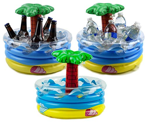 Fun 4 Ages, Ice Bucket – Beer Cooler - Palm Tree Inflatable Cooler - Table Top Centerpiece Beer Bucket - Pool Party Floating Cooler for Your Luau Hawaiian Party Decorations – 10 qt Cooler (Pack of 3)
