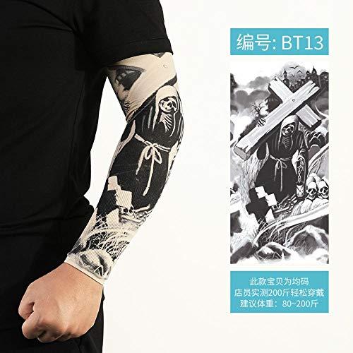 XTBB Sonnenschutz Arm ÄrmelTattoo Überarm Tätowierter Arm Nahtloser Armschutz Ärmel Frauen EIS Handmanschette Viskose Sommer Reiten Sonnenbeständig OneSize Bt13