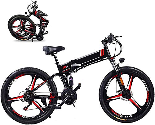 YAOSHUYANG Electric Bike 350W Folding Electric Bike 26' Electric Bike Mountain E-Bike 21 Speed 48V 8A/10A/12.8A Removable Lithium Battery Electric Bikes for Adults 3 Mode Top Speed 21.7Mph