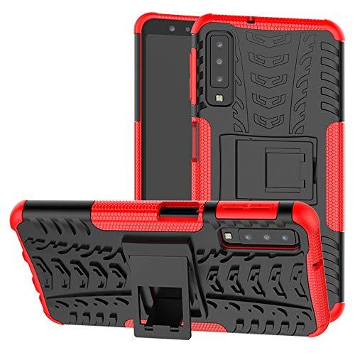Labanema Galaxy A7 2018 Funda, [Heavy Duty] [Doble Capa] [Protección Pesada] Híbrida Resistente Funda Protectora y Robusta para Samsung Galaxy A7 2018 (con 4 en 1 Regalo empaquetado) - Rojo