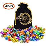 CiaraQ Polyhedral Dice Set with a Big Black Drawstring Pouch, 20 Complete Dice Sets of D4 D6 D8 D10 D% D12 D20 Compatible with Dungeons and Dragons DND RPG MTG Table Games