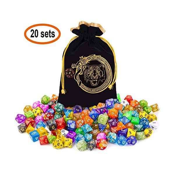 CiaraQ DND Dice Set, Polyhedral Dice Set Great for Dungeons and Dragons, D&D Dice Games, RPG MTG Table Games with Drawstring Pouch. Double-Color Dice. 3