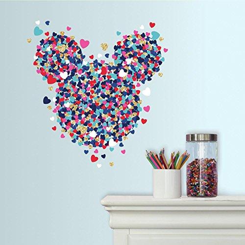 Sticker Géant Repositionnable Disney Minnie Mouse Cœur de Confettis avec Paillettes