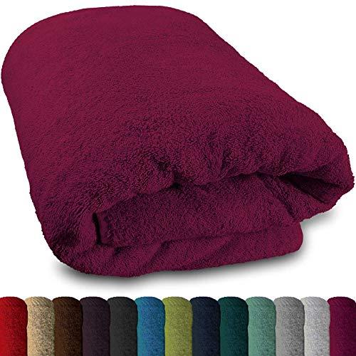 Lanudo® XXL Sauna-Handtuch 600g/m² Pure Luxus Line mit Bordüre.100% feinste Baumwolle, 80x200 cm (Pink)