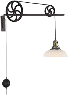 ZfgG E27 Vintage Iron Pulley Wall lamp, Industrial Retractable Chandelier Antique Pulley Rise and Fall Glass Wall Light for Kitchen Island Dining Room Bar Loft Hallway