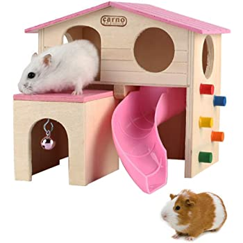 kathson Pet Small Animal Hideout Hamster House with Funny Climbing Ladder Slide Wooden Hut Play Toys Chews for Small Animals Like Dwarf Hamster and Mouse(Pink)