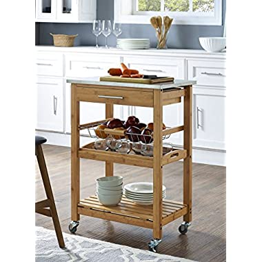 Boraam 50651 Aya Bamboo Kitchen Cart with Stainless Steel Top