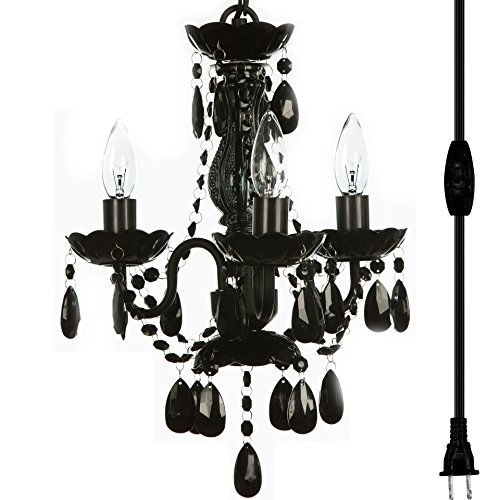 """Plug-in 3 Light Black Hanging Swag Chandelier H17""""xW12"""", Black Metal Frame with Black Glass Stem and Black Acrylic Crystals & Beads That Look Just Like Glass"""