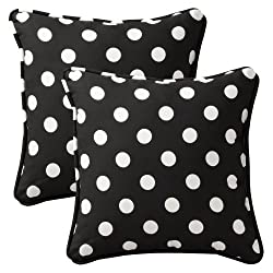 Large Black and White Polka Dot Accent Pillow with Piping