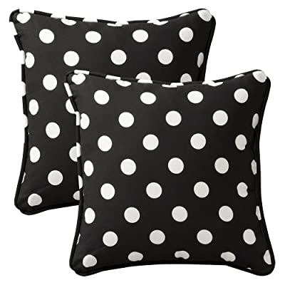 Corded Edge Black and White Polka Dot Throw Pillow Set