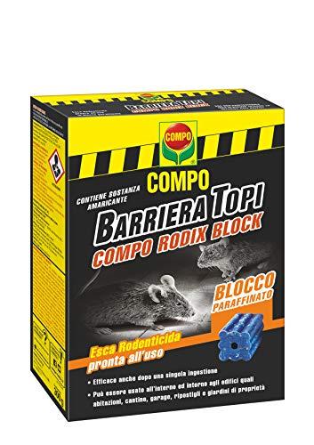 COMPO RODIX Block, Esca rodenticida professionale, pronta all'uso a base di una sostanza attiva efficace contro Topi e Ratti,