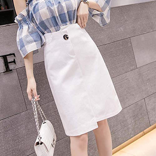 YYH Vrouwen rok midirok knielange casual één lijn rok met hoge taille voor school, kantoor, tijdkleding Medium wit