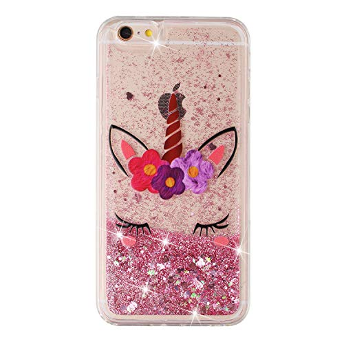 CUagain Kompatibel für iPhone 6s Plus/iPhone 6 Plus Hülle Silikon Glitzer Flüssig 3D Transparent Wasser Hüllen Durchsichtig Bling Bumper Handyhülle Hülle Cover Mädchen Damen,Rosa Einhorn