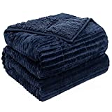 Pawque Weighted Blanket 15lbs Full Size, Sherpa Fleece Soft Fuzzy Weighted Throw for Adult, Reversible Throw Blanket Help with Better Sleep, Perfect for Couch, Bed, Chair, 48 x 72 inches, Navy Blue
