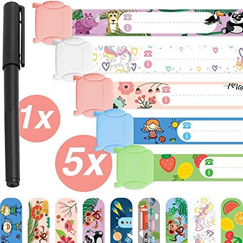 Notfallarmband für Kinder · 5 Stück + Stift · Sicherheitsarmband · Wasserfest · Wiederverwendbar · SOS Armband · Mädchen · Tampen Kinder