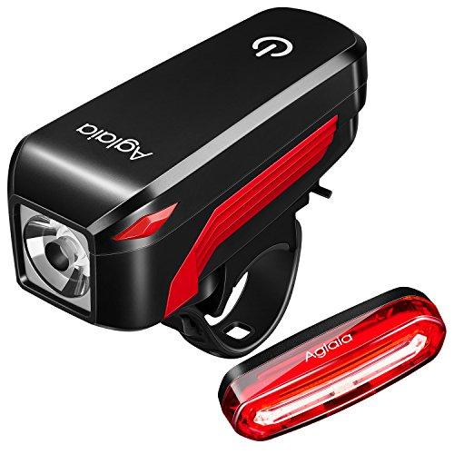 Aglaia Luce Della Bicicletta, Lampade a LED Bicicletta Aglaia, Ricarica USB Luci Anteriore e Posteriore Impermeabile 4 Modalità Di Illuminazione 300 Lumen Facile Da Installare