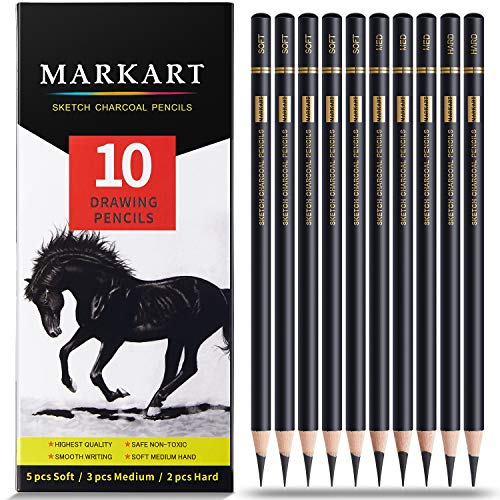 Professional Charcoal Pencils Drawing Set - MARKART 10 Pieces Soft Medium and Hard Charcoal Pencils for Drawing, Sketching, Shading, Artist Pencils for Beginners & Artists