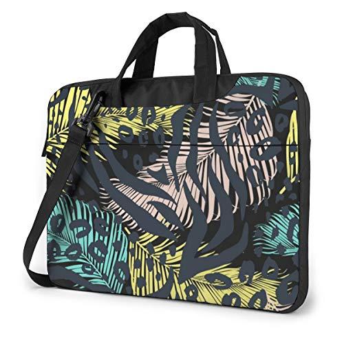Tropical Leaves Leopard Computer Bag Durable Laptop Briefcase Shoulder Messenger Bag for Computer Notebook 13 inch