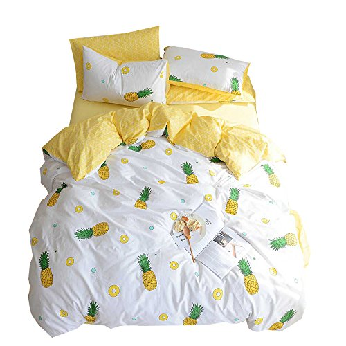OTOB Fruit Pineapple Printed Queen Bedding Set Girls Bedding Full Duvet Cover Soft Luxury 100% Cotton Bed with Pillowcases, Best Bedding Gifts, No Comforter, Queen/Full