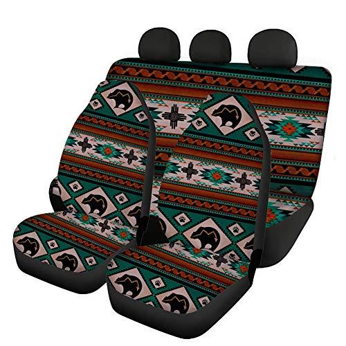 Woisttop - Juego completo de 4 fundas para asientos de coche con diseño de oso tribal africano