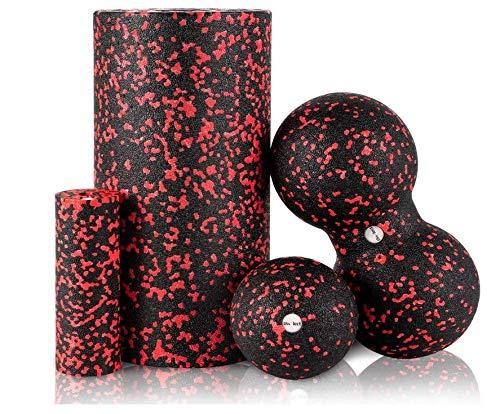 HBselect Faszienrolle Faszienball Duoball Faszien Set Wirbelsäule Rücken Beine Nacken Brust Massagerolle Ball für Yoga Training Selbstmassage von Muskeln Bindegewebe Stoffwechsel (4 in 1 Schwarz+Rot)