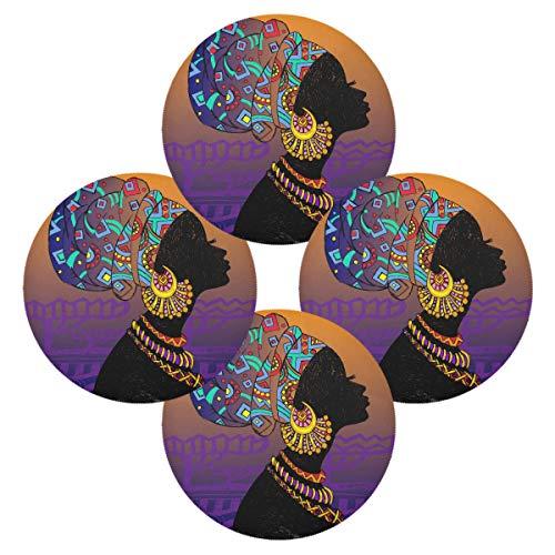 Hunihuni rundes Tischset Afrikanische Frau, rutschfest, hitzebeständig, für Küche, Esstisch, 1 Stück, Polyester, mehrfarbig, 15.4x15.4inx4