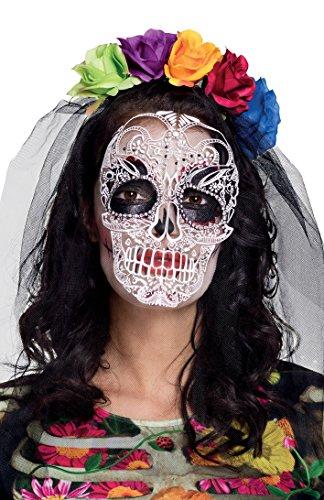 Boland- Tiara la Calaca Dia De Los Muertos con Velo Stampato per Adulti, Multicolore, Taglia Unica, 72118